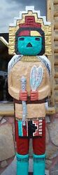 6and039 Kachina Doll Wooden Sculpture 6 Ft Gallagher Cigar Store Indian Style Figure