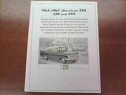 1963 Amc American Factory Cost/dealer Sticker Pricing For Car + Options