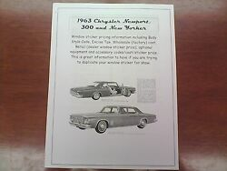 1963 Chrysler Full-size Factory Cost/dealer Sticker Pricing For Car + Options 63
