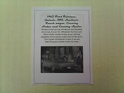 1962 Ford Big-car Cost/dealer Retail Window Sticker Pricing For Car + Options