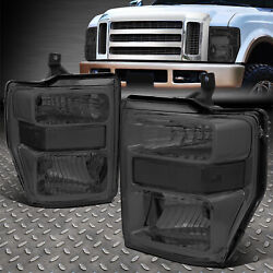 For 08-10 Ford F250 F350 Super Duty Smoked Housing Clear Corner Headlight Lamps