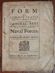 Common Prayer For His Majestys Naval Forces 1665 Rare Proclamation Dutch/ Engli
