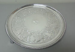 19th C. English Old Sheffield Plate Osp Silver Plate 14 Footed, Engraved Tray