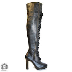 Andre No. 1 Black Leather Lace Zip-up Thigh Boots Us Sz 10 New, Handmade Usa