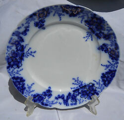 Johnson Brothers Flow Blue Peach Dinner Plate Gold Victorian Antique Rare