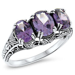 Color Changing Lab Alexandrite Antique Deco Style .925 Sterling Silver Ring422