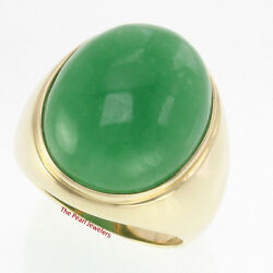 20 X 25mm Cabochon Green Jade Solitaire Men's Ring Set 14k Solid Yellow Gold Tpj