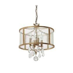 Capital Lighting Blakely 4 Lt Pendant W/clear Crystals, Antique Gold - 9484ag-cr