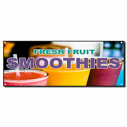 Fresh Fruit Smoothies Food And Drink Vinyl Banner Sign W/ Grommets 2 Ft X 4 Ft