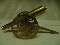 Large Vintage Solid Brass Cannon W/brass Wheels 15 Long 3.5 Wide 5 1/4 High