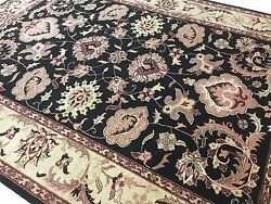 9and039 X 12 And039black Beige Pink Fine Ziegler Oriental Area Rug All Over Hand Knotted