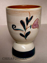 Stangl China Tulip Blue Terra Rose Line Pattern Double Egg Cup