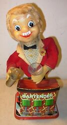 battery operated tin toy rosko bartender t