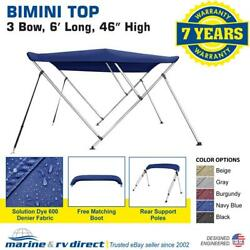 Bimini Top Boat Cover 46 High 3 Bow 6and039 Ft. L X 67 - 72 W Blue W/ Rear Poles