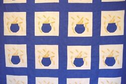 Antique Gold Wheat In Pottery Quilt Unused 1930/40s