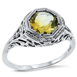 Genuine Citrine .925 Sterling Silver Antique Filigree Style Ring 133