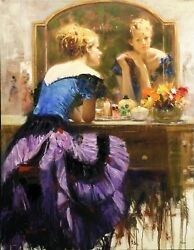 Pino By The Mirror | Signed Embellished Canvas | Stretched | Make An Offer
