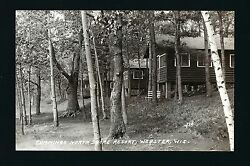Webster Wisconsin Wi C1930 Rppc Cummings North Shore Resort Log Cabins On Hill
