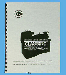 Clausing Colchester 13x24 And 13x36 Lathe Instruction And Parts List Manual 1272