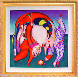 DANCING WITH FRUITS 75 Color Framed Serigraph on Canvas sn By Mihail Chemiakin