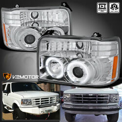 Fits 1992-1996 Ford Bronco F150 F250 F350 Led Halo Projector Headlights 92-96
