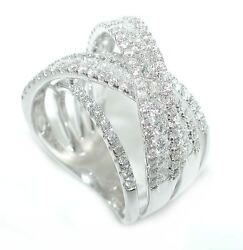 2 Ct Exquisite 4 Row Multi Level Criss Cross Wide Diamond Band Ring 14k Wg