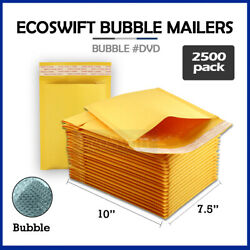 2500 Dvd 7.5x10 Self Seal Kraft Bubble Mailers Padded Envelopes 7.5 X 10