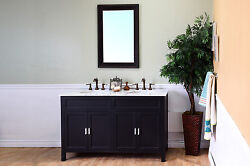 60-in Double Sink Vanity-solid Wood-ebony W/ White Marble Topfree Shipping