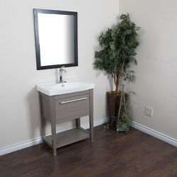 27.5 In Single Sink Vanity-solid Wood-gray Free Shipping