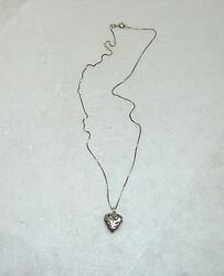 Cut Out Floral Heart Pendant W/box Chain Necklace In Sterling Silver 18 538-t