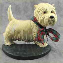 WEST HIGHLAND TERRIER WESTIE DOG Cast Iron DOORSTOP w TARTAN PLAID BOW