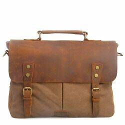 Handmade Genuine Leather and Canvas Messenger Bag Briefcase Satchel for Laptop $59.49