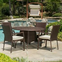 Cypress Outdoor 5-piece Wicker Dining Set With Cushions
