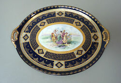 Beautiful 19th C. Royal Vienna Beehive 18 Hand Painted Tray, Cobalt/gold