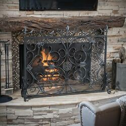 Darcie Black Brushed Silver Finish Wrought Iron Fireplace Screen
