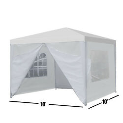 10'x10' Carport Garage Car Shelter Canopy Party Tent Sidewall With Windows White