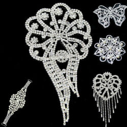 Clear Crystal Rhinestone Applique Sew On Wedding Bridal Dress DIY Sewing Craft