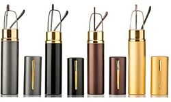 4 Pairs Combo Pack Reading Glasses With Metal Tube Hard Case Spring Hinge
