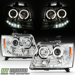 2007-2014 Suburban Tahoe Avalanche Drl Led Projector Halo Headlights 07-14 Lamps