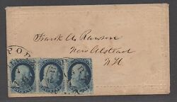 Us 19th Century Cover Scott 7 Xf Strip Of 3 - Rare Cover See Psag Cert