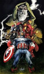 Marvel 'unite' Avengers   Stan Lee Simone Bianchi Dual Signed   Giclee On Canvas