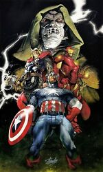 Marvel And039uniteand039 Avengers   Stan Lee Simone Bianchi Dual Signed   Giclee On Canvas