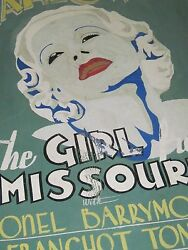 Vintage Painted Movie Poster The Girl From Missouri Lionel Barrymore Norwich Ct