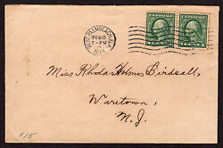 Florida Machine Cancel Cover West Palm Beach 2/15/1914 7 Wavy Lines Slope Up