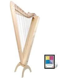 33 String Maple Electric Grand Harpsicle Harp W/ Full Levers Stand And Dvd Book