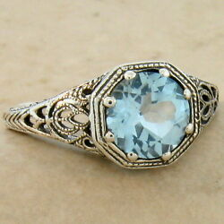 Genuine Sky Blue Topaz Art Deco Antique Style 925 Sterling Silver Ring  882
