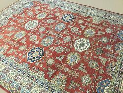 8'.1 X 10'.6 Red Blue Fine Geometric Oriental Area Rug Hand Knotted Wool