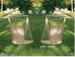 2 Set White Cotton Padded Swing Hammock Hanging Outdoor Chair Garden Patio Porch