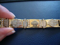 10k Yellow White Gold Harley Davidson Bracelet 417 Grams 775and039and039 Long