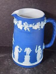 Wedgwood Royal Or Midnight Blue Pitcher Various Greek Figures 5 1/2